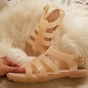 Womens Sz 8 Jelly Sandals Nude Pink Strappy Summer